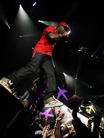 Dizzee Rascal on stage at the Jingle Bell Ball