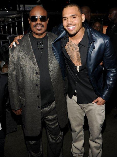Chris Brown backstage at Grammy Awards 2012