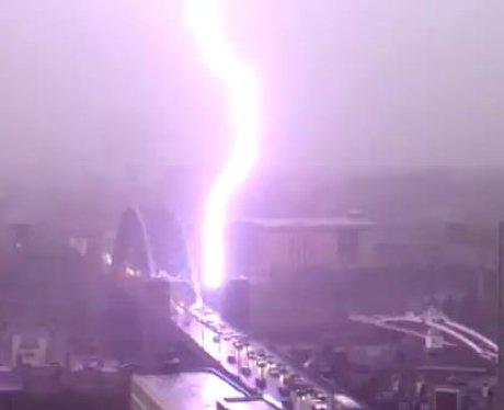 The Tyne Bridge was Struck by lightening