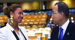 Beyonce and Secretary General Ban Ki-moon