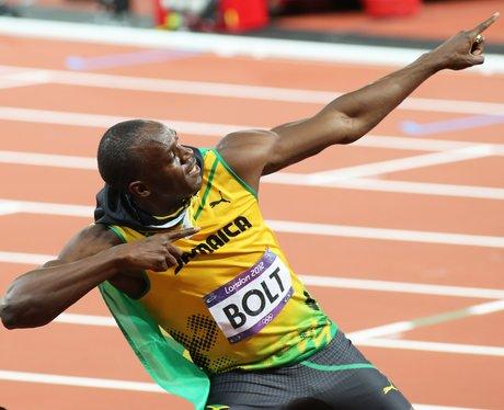 Usain Bolt doing his signature pose.