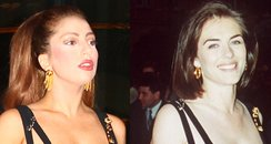 Lady Gaga and Liz Hurley same 'safety pin' dress