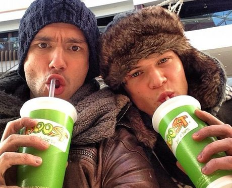 Andy Brown and Ryan Fletcher share a juice together