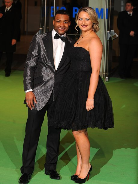 JB Gill and his girlfriend at The Hobbit London premiere