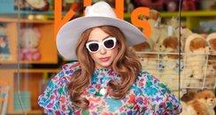 Lady Gaga wearing a long floral dress