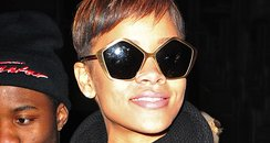 Rihanna wearing pentagon glasses