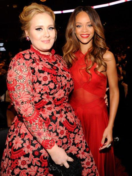 Adele and Rihanna at the 2013 Grammy Awards