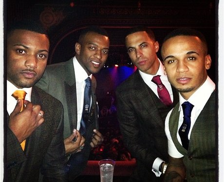 JLS wearing suits at Justin Timberlake's gig