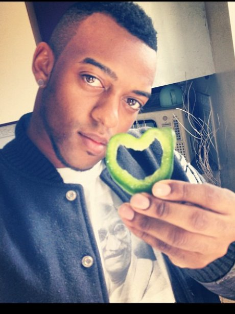 Oritse from JLS with heart-shaped pepper