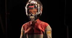 rihanna in a biker helmet