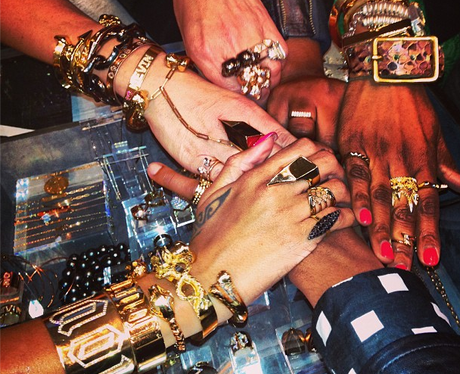 Rihanna with jewellery on her arm