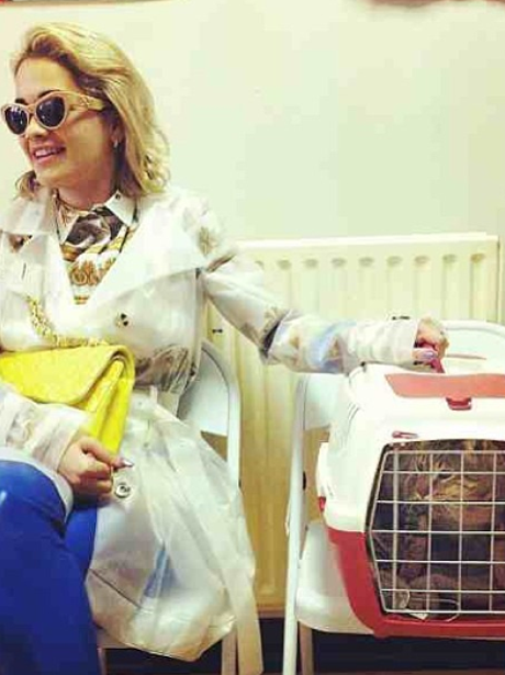 Rita Ora with her cat