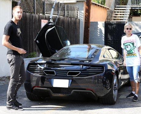Rita Ora and Calvin Harris outside studio