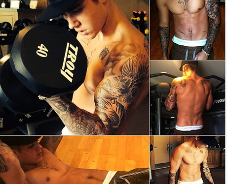Justin Bieber in the gym