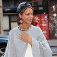Rihanna wearing a poncho in New York