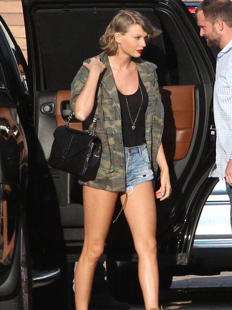Taylor Swift puts on a leggy display in tiny denim