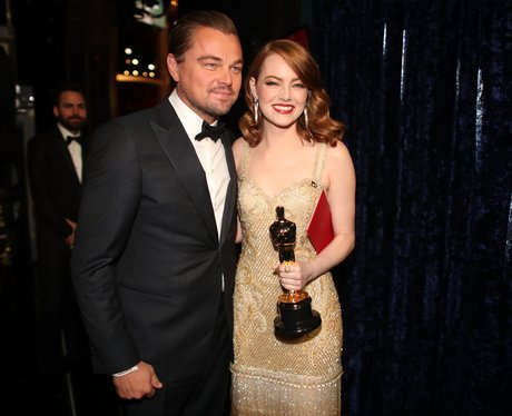 Leonardo DiCaprio with Emma Stone backstage at the